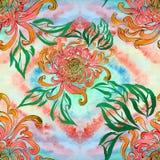 Fleurs et feuilles de chrysanthème Vecteur Fleurs d'automne Composition décorative Configuration sans joint Photos libres de droits