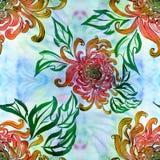 Fleurs et feuilles de chrysanthème Vecteur Fleurs d'automne Composition décorative Configuration sans joint Photographie stock libre de droits