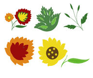 Fleurs et feuilles de fantaisie Photos stock
