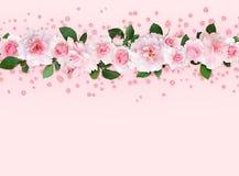 Fleurs et feuilles de rose de rose dans une frontière supérieure avec le confet de scintillement illustration stock