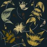 Fleurs et feuilles dessinées à la main sur une couleur bleu-foncé illustration de vecteur