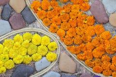 Fleurs et fond de pierres Photo stock