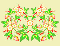 Fleurs et fraises Illustration de Vecteur