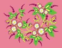 Fleurs et fraises abstraites Illustration de Vecteur