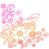Fleurs et griffonnages peu précis de cahier d'oiseau Photo stock