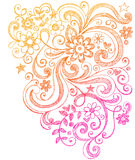 Fleurs et griffonnages peu précis de cahier de remous Image libre de droits