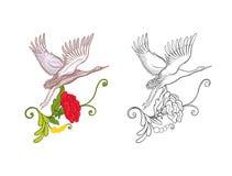 Fleurs et grue Ensemble de dessin coloré témoin et d'ensemble Image stock