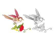 Fleurs et hirondelle Ensemble de dessin coloré témoin et d'ensemble illustration de vecteur