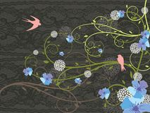Fleurs et hirondelles de source Photographie stock