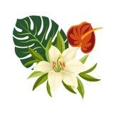 Fleurs et lames tropicales Composition florale élégante en vecteur Illustration colorée de bande dessinée illustration libre de droits