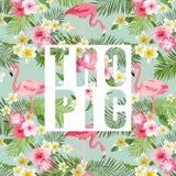 Fleurs et lames tropicales Fond tropical de flamant Photos libres de droits
