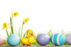 Fleurs et oeufs de pâques jaunes Images libres de droits