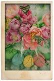 Fleurs et oeufs de Pâques style de carte postale de vintage Photographie stock libre de droits