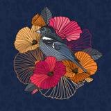 Fleurs et oiseau abstraits dans le jardin Images stock
