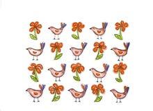 Fleurs et oiseaux illustration de vecteur
