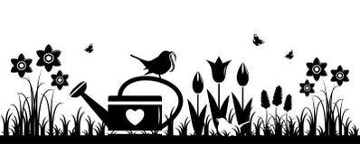 Fleurs et oiseaux de source Photographie stock