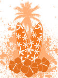 Fleurs et palmier de hibscus de planches de surfing Image libre de droits