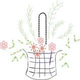 Fleurs et panier Images stock