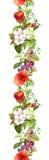 Fleurs et papillons de pré d'été Répétition du cadre watercolor Photos stock