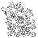 Fleurs et papillons sans couture d'ornement pour l'anti page de coloration d'effort illustration de vecteur