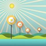 Fleurs et soleil de papier abstraits de ressort Photographie stock