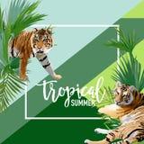 Fleurs et Tiger Summer Banner tropical, fond graphique, invitation florale exotique, insecte ou carte Illustration de Vecteur