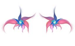 Fleurs exotiques abstraites sur le fond blanc Image stock