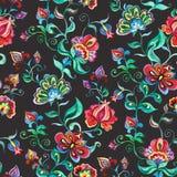 Fleurs féeriques décoratives sur le fond foncé Répétition de la configuration Aquarelle dans oriental - gens européens illustration libre de droits