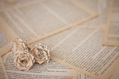 Fleurs faites main avec des feuilles de vieux livre photos libres de droits