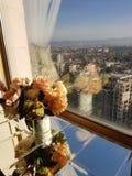 Fleurs, fenêtre et paysage de ville image libre de droits