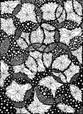 Fleurs, feuilles en cercles Illustration de vecteur Dessin de griffonnage Exercice méditatif Anti effort de livre de coloriage po Image stock