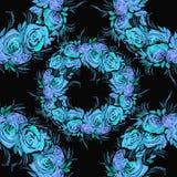 Fleurs, feuilles et bourgeons des roses Fond d'aquarelle Papier peint abstrait avec des motifs floraux Configuration sans joint w Photos libres de droits