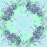 Fleurs, feuilles et bourgeons des roses Fond d'aquarelle Papier peint abstrait avec des motifs floraux Configuration sans joint w Photo libre de droits