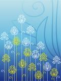 Fleurs fleuries sur le fond bleu Photo stock