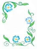 Fleurs florales de bleu de coin de cadre Photographie stock libre de droits