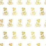 Fleurs folkloriques de feuille d'or sur le modèle blanc de vecteur illustration de vecteur