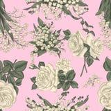 Fleurs Fond sans joint de vecteur Illustration de cru Photos stock