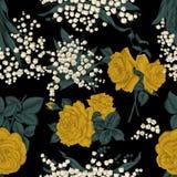 Fleurs Fond sans joint de vecteur Illustration de cru Images stock