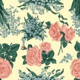 Fleurs Fond sans joint de vecteur Illustration de cru Photographie stock libre de droits