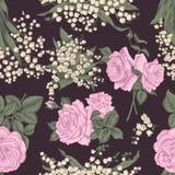 Fleurs Fond sans joint de vecteur Illustration de cru Photo libre de droits
