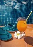 Fleurs fraîches d'orangeade, pantoufles de lunettes de soleil image stock