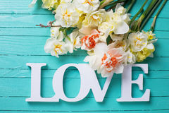 Fleurs fraîches et amour de mot Image libre de droits