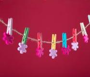 Fleurs goupillées sur la corde à linge Fond de minimalisme Fond bleu, orange, gris Photo de haute résolution Photos stock