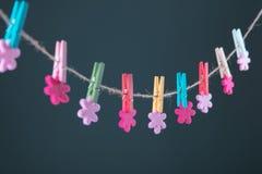 Fleurs goupillées sur la corde à linge Fond de minimalisme Fond bleu, orange, gris Photo de haute résolution Photo stock