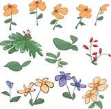 Fleurs, herbe, centrales. Bande dessinée illustration stock