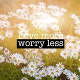 Fleurs inspirées de camomille de citation de motivation Photo libre de droits