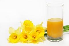 Fleurs jaunes avec du jus photographie stock libre de droits