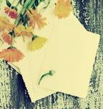 Fleurs jaunes d'été d'un calendula et des photographies vides antiques sur une surface en bois Photographie stock libre de droits