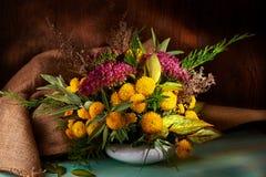 Fleurs jaunes d'automne d'isolement sur le fond blanc Photographie stock libre de droits