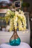 Fleurs jaunes de saule dans le beau vase utilisé pour la décoration à la maison photos stock